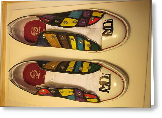 Shoe Tapestries - Textiles Greeting Cards - Canvas Shoe Art 002 Greeting Card by Mudiama Kammoh