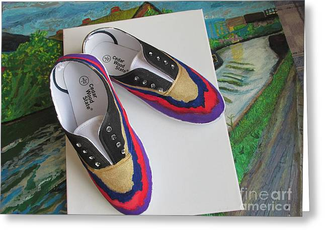 Shoe Tapestries - Textiles Greeting Cards - Canvas Shoe Art - 004 Greeting Card by Mudiama Kammoh