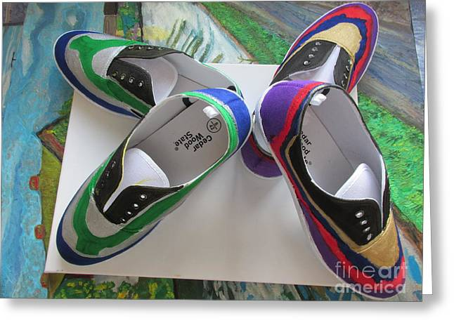 Shoe Tapestries - Textiles Greeting Cards - Canvas Shoe Art  - 006 Greeting Card by Mudiama Kammoh