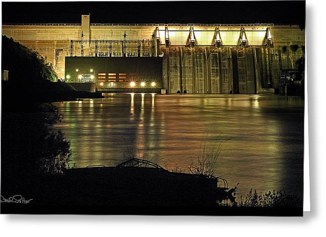 Canyon Ferry Lake Greeting Cards - Canyon Ferry Dam at Night Greeting Card by David Salter