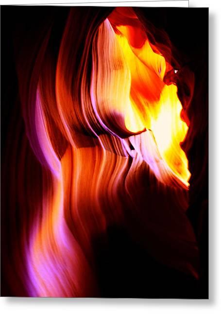 Flash Greeting Cards - Antelope Canyon Light Curves   Greeting Card by Aidan Moran