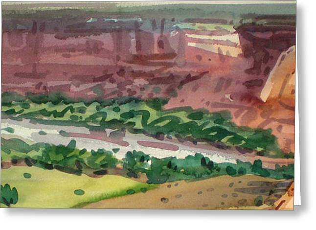 Canyons Paintings Greeting Cards - Canyon Panorama Greeting Card by Donald Maier
