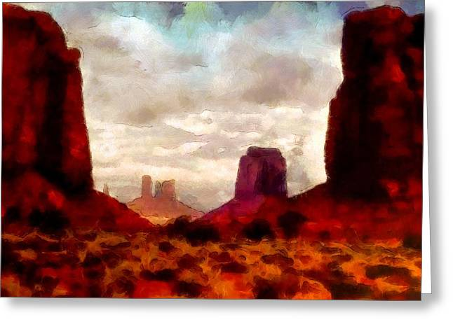 """photo Manipulation"" Paintings Greeting Cards - Canyon Panorama Greeting Card by Mario Carini"
