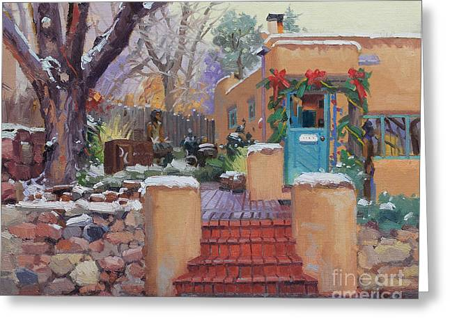 Francis Greeting Cards - Canyon Road Christmas Greeting Card by Gary Kim
