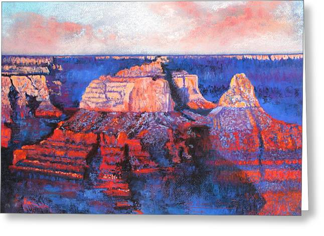 Cliffs Pastels Greeting Cards - Canyon Sunset Greeting Card by M Diane Bonaparte