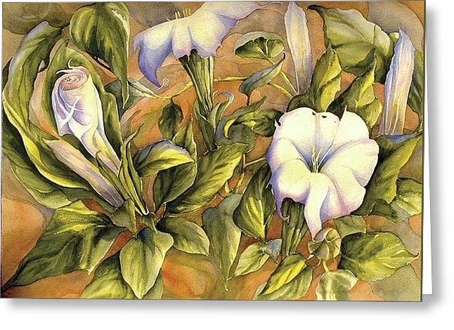 Datura Paintings Greeting Cards - Canyon Suprize Greeting Card by Gail M Austin