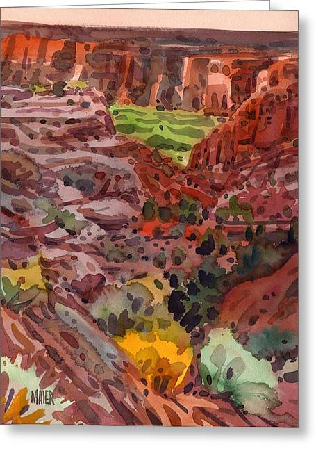 Canyons Paintings Greeting Cards - Canyon Trail to Whitehouse Greeting Card by Donald Maier