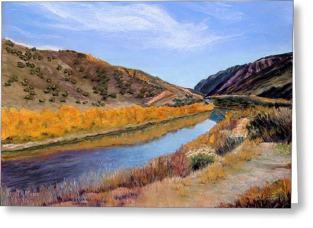 Taos Pastels Greeting Cards - Canyon View Greeting Card by Julie Maas