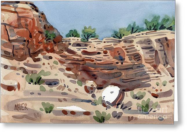 Canyons Paintings Greeting Cards - Canyon Wall Greeting Card by Donald Maier