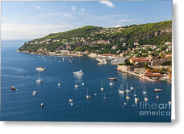 Cape Town Greeting Cards - Cap de Nice and Villefranche-sur-Mer on French Riviera Greeting Card by Elena Elisseeva