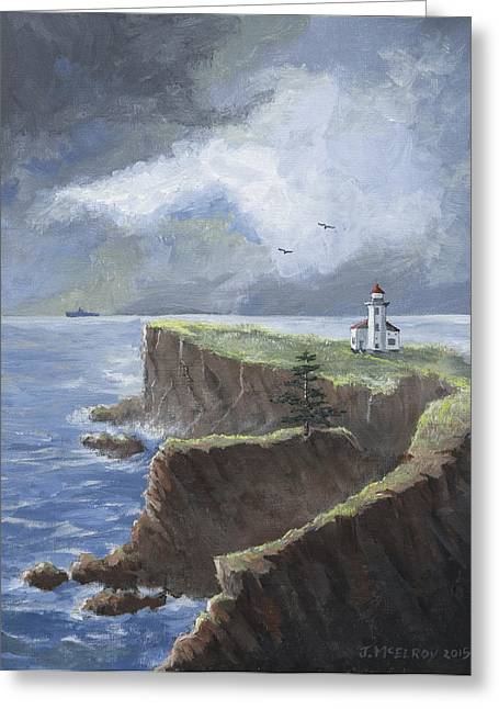 Sunset Bay State Park Greeting Cards - Cape Arago Lighthouse Greeting Card by Jerry McElroy