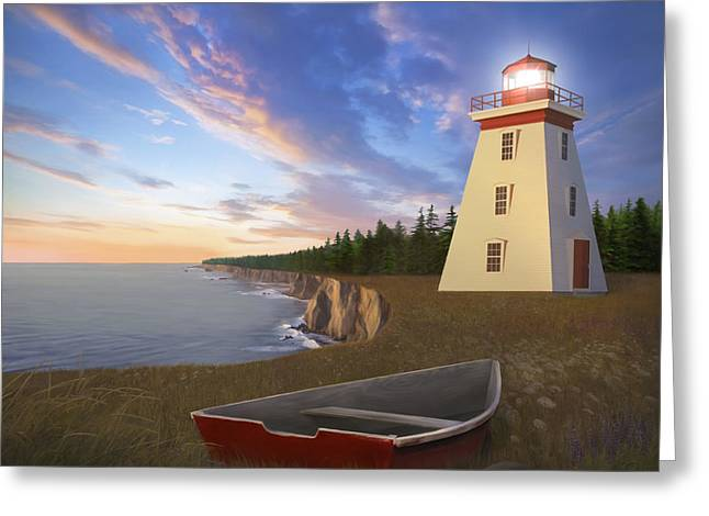 Cape Bear Light Greeting Card by James Charles