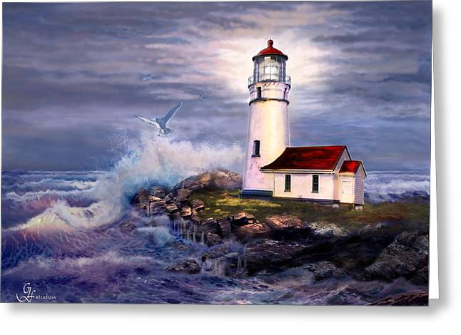 Cape Blanco  Lighthouse On Rocky Shores Greeting Card by Regina Femrite