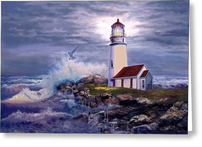 Ocean Shore Paintings Greeting Cards - Cape Blanco Oregon Lighthouse on Rocky Shores Greeting Card by Gina Femrite