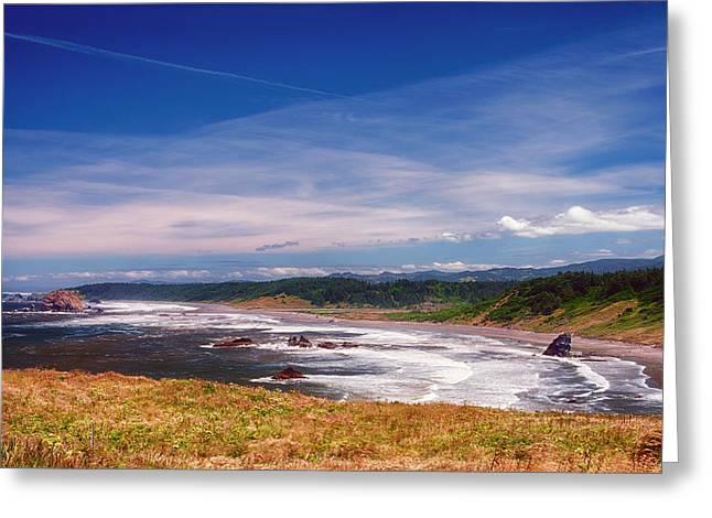 Ocean Panorama Greeting Cards - Cape Blanco Oregon Seascape Greeting Card by Joan Carroll