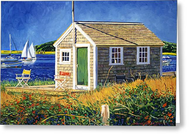 Cape Cod Boat House Greeting Card by David Lloyd Glover