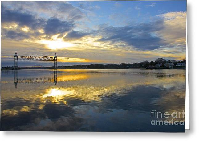 Recently Sold -  - Bay Bridge Greeting Cards - Cape Cod Canal Sunrise Greeting Card by Amazing Jules