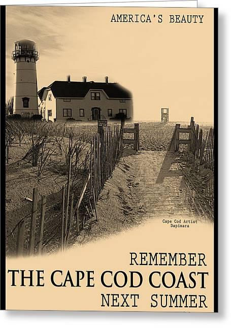 Beach Fence Digital Art Greeting Cards - Cape Cod Coast Poster Greeting Card by Dapixara Art