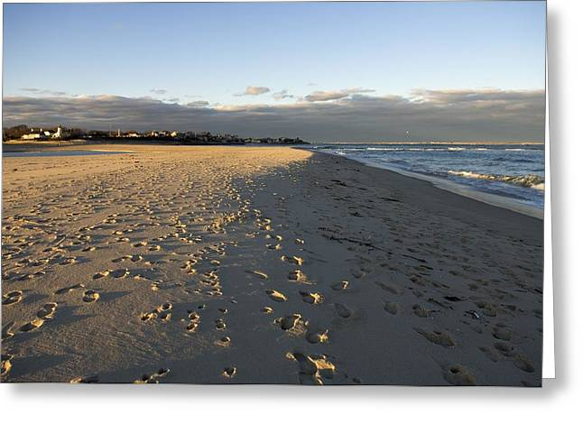 Chatham Greeting Cards - Cape Cod Foot Prints On Sandy Beach Greeting Card by Keenpress