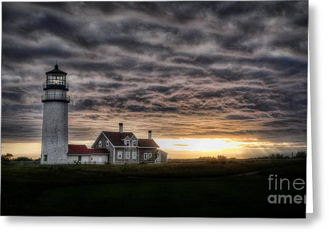 Best Sellers -  - Storm Clouds Cape Cod Greeting Cards - Cape Cod Lighthouse Greeting Card by TK Goforth