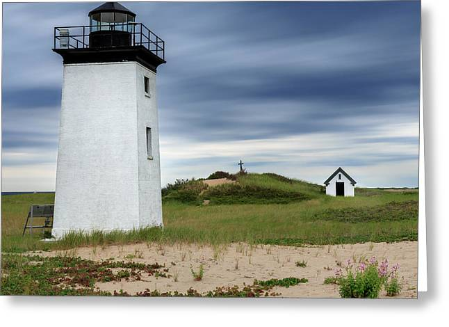 Square Format Greeting Cards - Cape Cod Long Point Lighthouse Square Greeting Card by Bill Wakeley