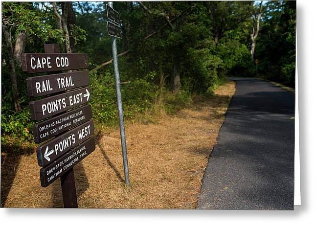 Cape Cod Rail Trail Sign Eastham Path Greeting Card by Toby McGuire