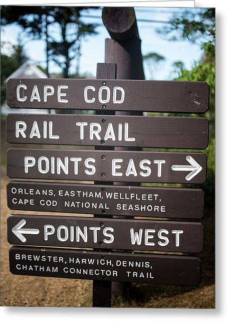 Cape Cod Rail Trail Sign Eastham Greeting Card by Toby McGuire