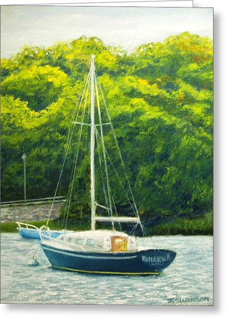 Ocean Sailing Pastels Greeting Cards - Cape Cod Sailboat Greeting Card by Joan Swanson