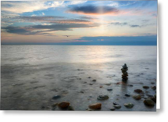 Foggy Beach Greeting Cards - Cape Cod Zen Greeting Card by Bill Wakeley