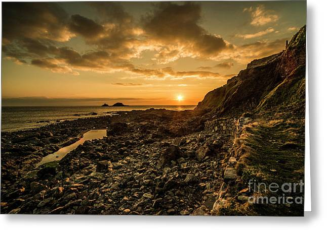 Cape Cornwall Dusk  Greeting Card by Rob Hawkins