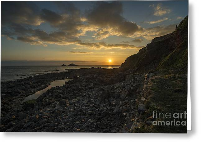 Cape Cornwall Sunset  Greeting Card by Rob Hawkins