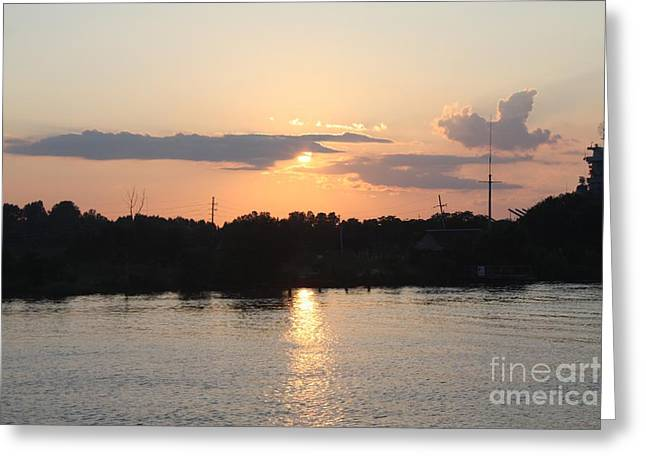 Reflecting Water Greeting Cards - Sunset Over Cape Fear River North Carolina Greeting Card by John Telfer