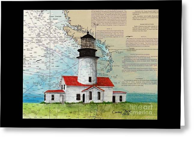 Cape Flattery Greeting Cards - Cape Flattery Lighthouse WA Nautical Chart Map Art Greeting Card by Cathy Peek