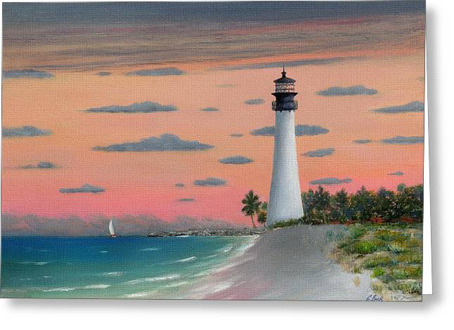 Sailboat Art Greeting Cards - Cape Florida Light Greeting Card by Gordon Beck