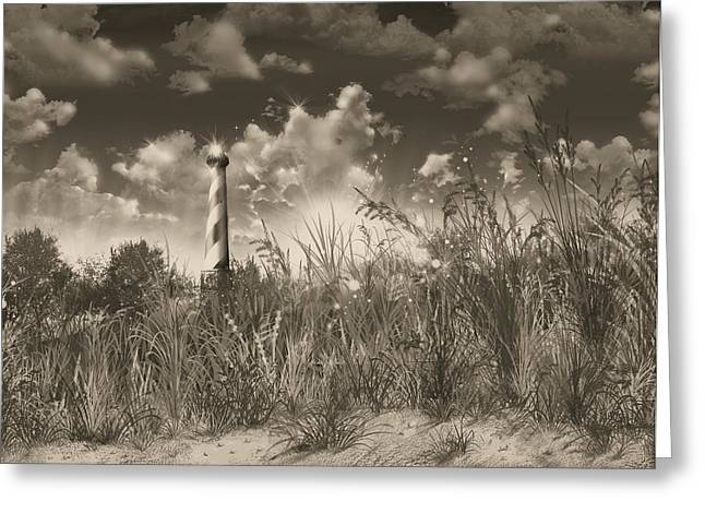 Surreal Images Greeting Cards - Cape Hatteras Lighthouse 3 Greeting Card by MB Art factory