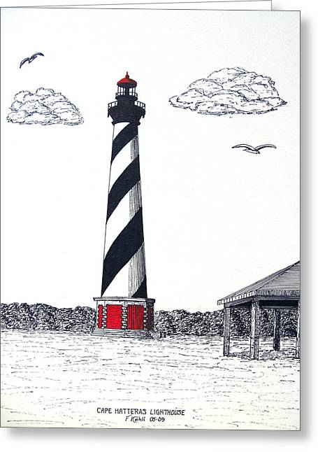Historic Buildings Images Drawings Greeting Cards - Cape Hatteras Lighthouse Drawing Greeting Card by Frederic Kohli