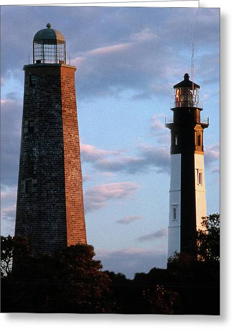 Twin Towers Greeting Cards - Cape Henry Lighthouses In Virginia Greeting Card by Skip Willits
