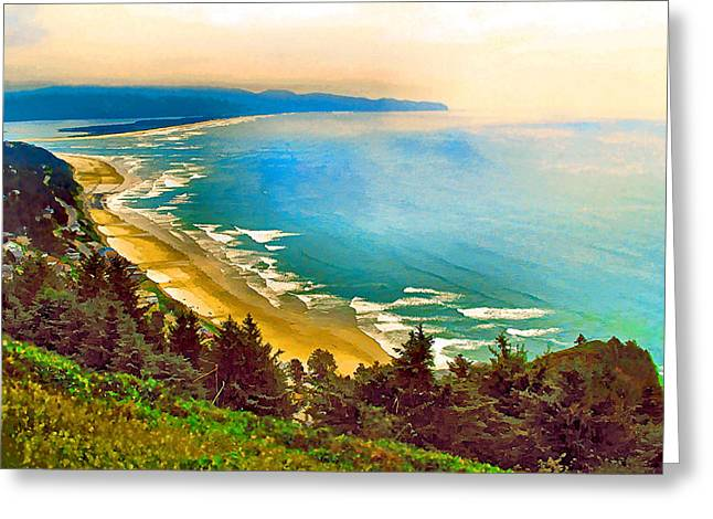Cape Lookout Greeting Cards - Cape Lookout from Oceanside Greeting Card by Margaret Hood