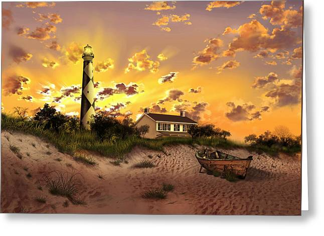 Cape Lookout Greeting Cards - Cape Lookout Lighthouse 2 Greeting Card by MB Art factory