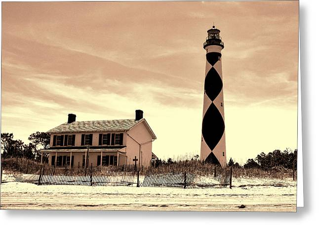 Cape Lookout Lighthouse In Sepia Greeting Card by Phyllis Taylor