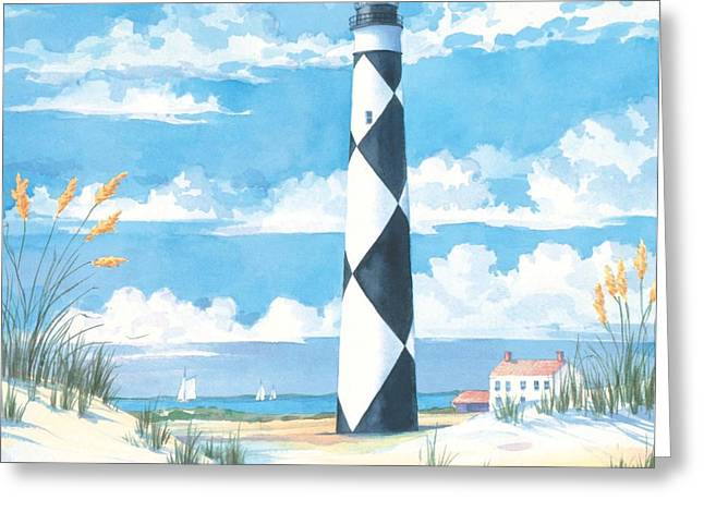 Black Light Paintings Greeting Cards - Cape Lookout - Lighthouse Greeting Card by Paul Brent