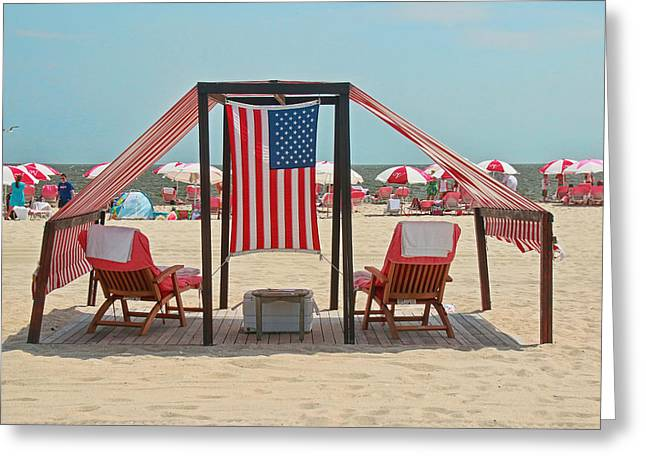 Empty Chairs Greeting Cards - Cape May Cabanas 3 Greeting Card by Allen Beatty