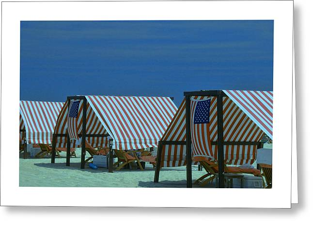 Empty Chairs Greeting Cards - Cape May Cabanas 4 Greeting Card by Allen Beatty
