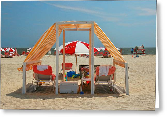 Empty Chairs Greeting Cards - Cape May Cabanas 5 Greeting Card by Allen Beatty