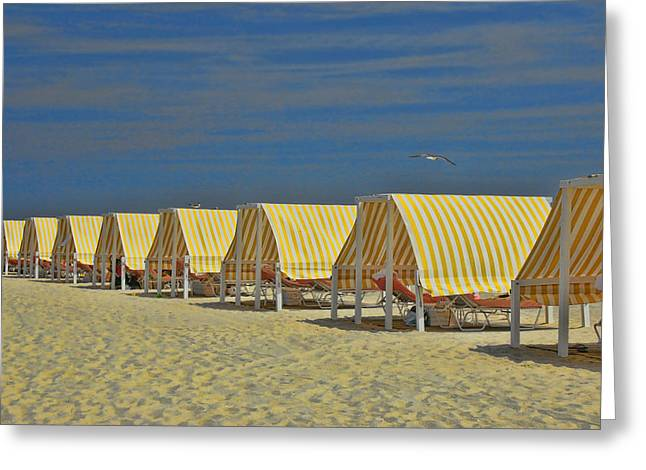 Empty Chairs Greeting Cards - Cape May Cabanas 6 Greeting Card by Allen Beatty