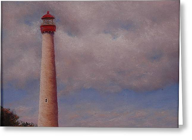 Beach House Pastels Greeting Cards - Cape May Point Light House Greeting Card by Deb Spinella