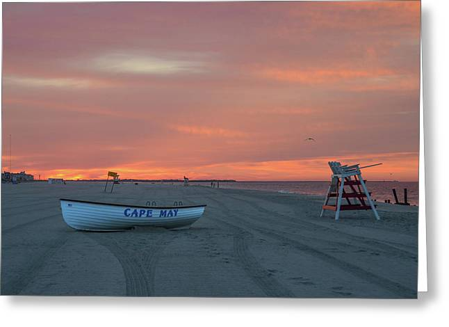Cape May - Red Skies Greeting Card by Bill Cannon