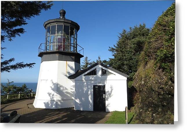 Historic Site Greeting Cards - Cape Meares Lighthouse 3 Greeting Card by Cindy Kellogg
