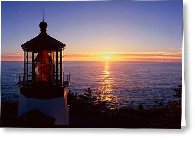 Lighthouse Sunset Greeting Cards - Cape Meares Lighthouse At Sunset, Cape Greeting Card by Panoramic Images