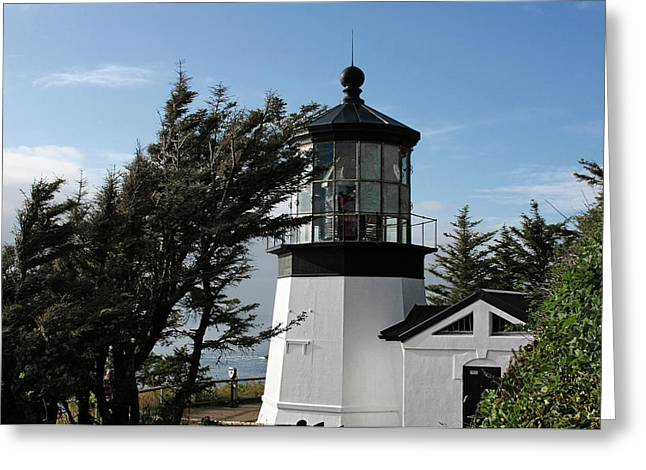 Coast Guard Greeting Cards - Cape Meares Lighthouse near Tillamook on the scenic Oregon Coast Greeting Card by Christine Till